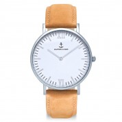 UHR CAMPINA SILVER WHITE, COGNAC SUEDE LEATHER