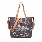TASCHE CANVAS SHOPPER GENZIANA, GRAU