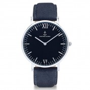 UHR CAMPUS SILVER BLACK, NIGHT BLUE SUEDE LEATHER