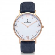 UHR CAMPUS ROSÉ WHITE, NIGHT BLUE SUEDE LEATHER