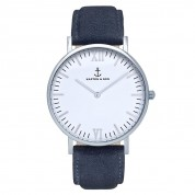 UHR CAMPUS SILVER WHITE, NIGHT BLUE SUEDE LEATHER