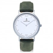 UHR CAMPUS SILVER WHITE, PINE GREEN SUEDE LEATHER