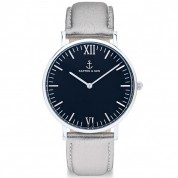 UHR CAMPUS SILVER BLACK, SILBER METALLIC LEATHER