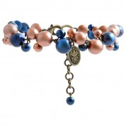 ARMBAND CAVIAR DE LUXE BLUE/BROWN, ANTIQUE GOLD
