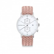 UHR CHRONO SMALL WHITE SILVER, ROSE WOVEN