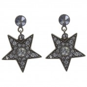 OHRRINGE DANCING STAR GREY, ANTIQUE SILVER