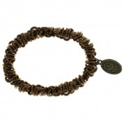 ARMBAND ELASTIC BEAD SNAKES BROWN, ANTIQUE GOLD