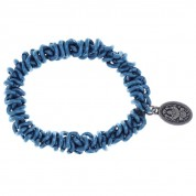 ARMBAND ELASTIC BEAD SNAKES BLUE, ANTIQUE SILVER