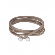 KETTE LEATHER, TAUPE/SILBER