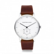 UHR HERITAGE SILVER WHITE, BROWN LEATHER
