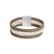 ARMBAND MUSIC TAUPE FRESHWATER PEARLS , SILVER