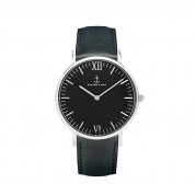 UHR CAMPINA SILBER, ALL BLACK LEATHER