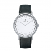 UHR CAMPUS SILBER WHITE, BLACK LEATHER