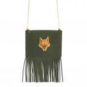 TASCHE GREEN KHAKI BAG WITH FRINGES, FOX