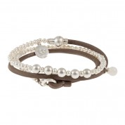 ARMBAND BE RELAXED, SILBER/FRESHWATER PEARLS/TAUPE LEATHER