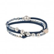 ARMBAND BE RELAXED, SILBER/BLUE AVENTURINE/DARK BLUE LEATHER