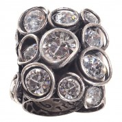 RING SPARKLE TWIST, WHITE ANTIQUE SILVER