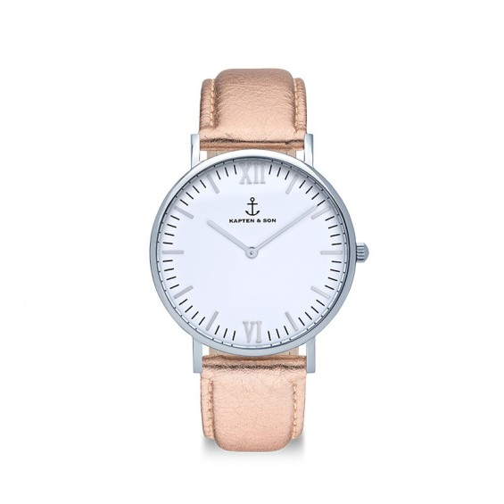 UHR CAMPINA SILVER WHITE, ROSÉ METALLIC LEATHER