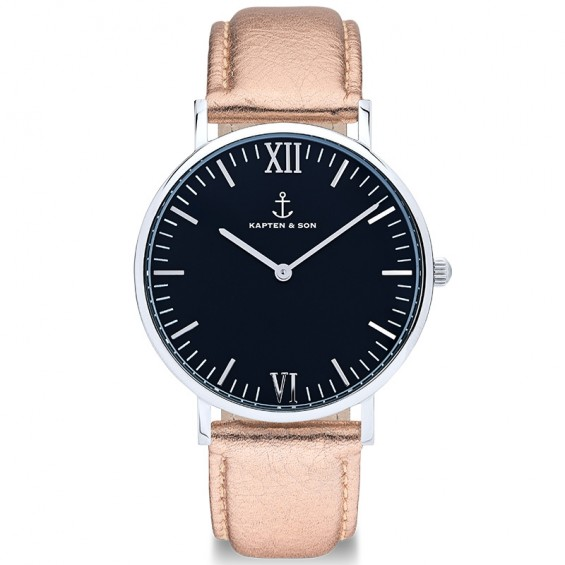UHR CAMPUS SILVER BLACK, ROSÉ METALLIC LEATHER