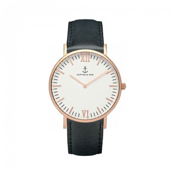 UHR CAMPINA ROSÉ WHITE, BLACK LEATHER