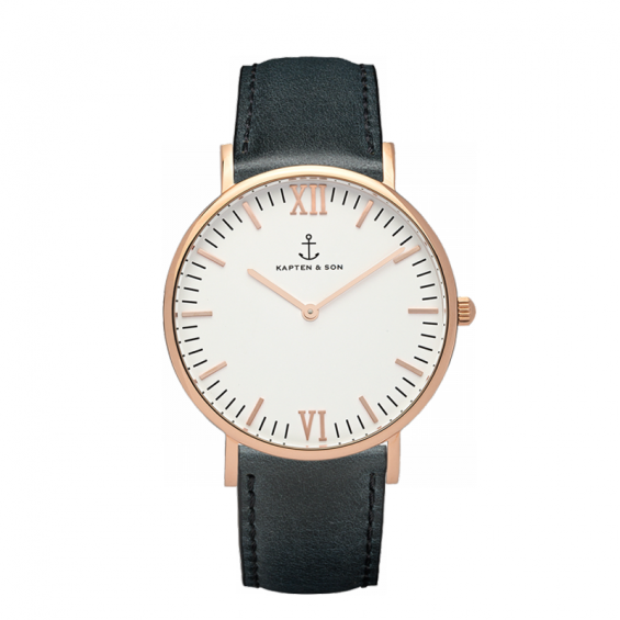 UHR CAMPUS ROSÉ WHITE, BLACK LEATHER